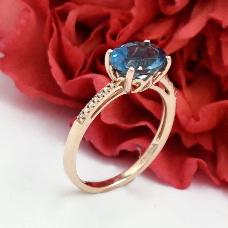 14k Rose Gold Estate Blue Topaz & Diamond Ring Size 7