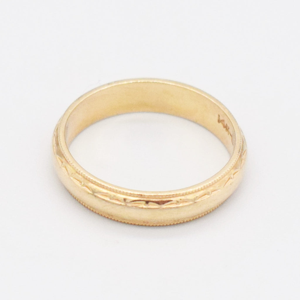14k Yellow Gold Vintage Texture Wedding Band/Ring Size 10.5