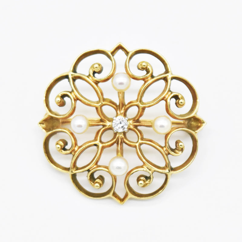 14k Yellow Gold Antique Diamond & Pearl Open Work Circle Pin/Brooch