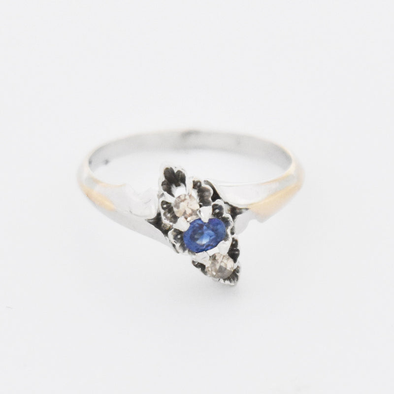 10k White Gold Estate Open Work Sapphire & Diamond Ring Size 4.75