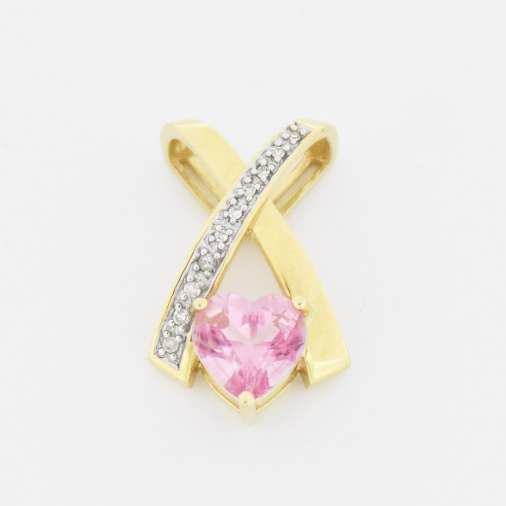 14k YG Estate CrissCross Heart Shaped Pink Topaz Gem & Diamond Pendant