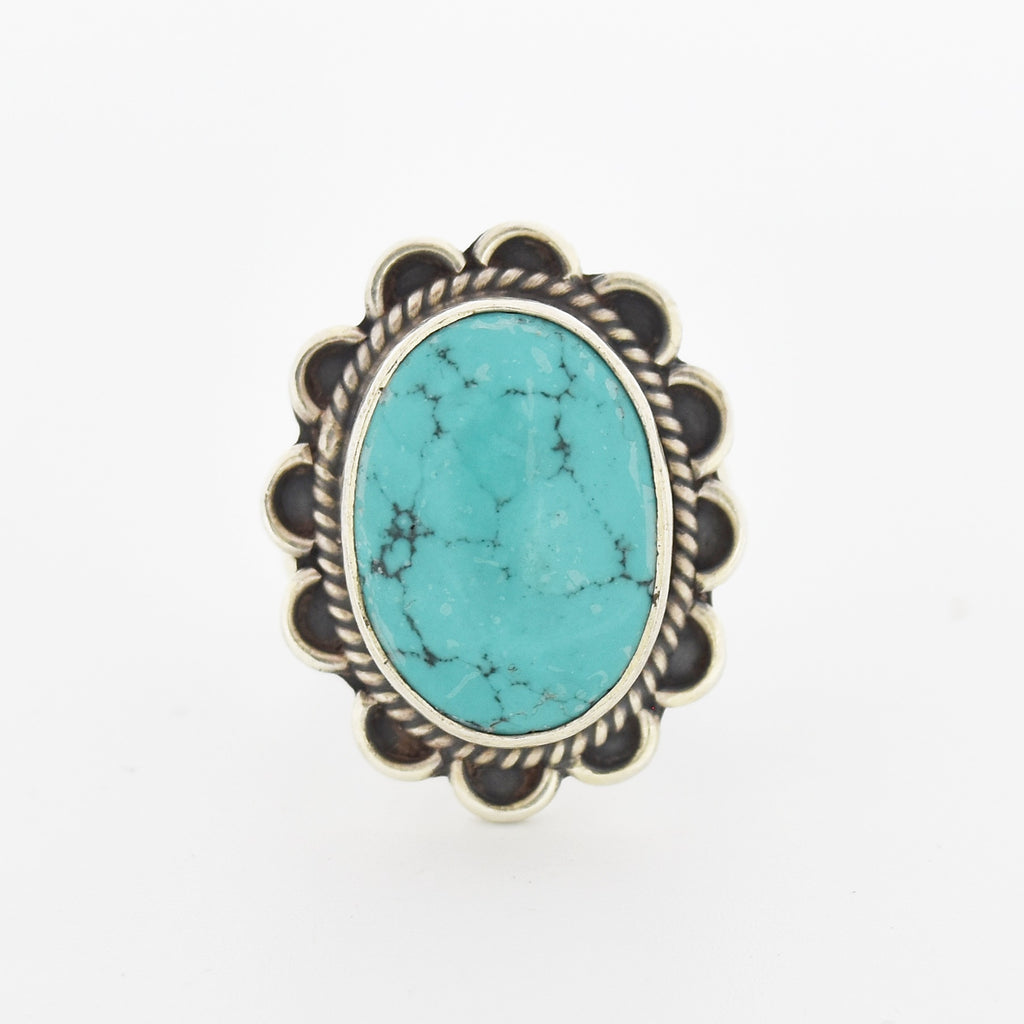 Sterling Silver 925 Estate Fancy Oval Turquoise Ring Size 7.75