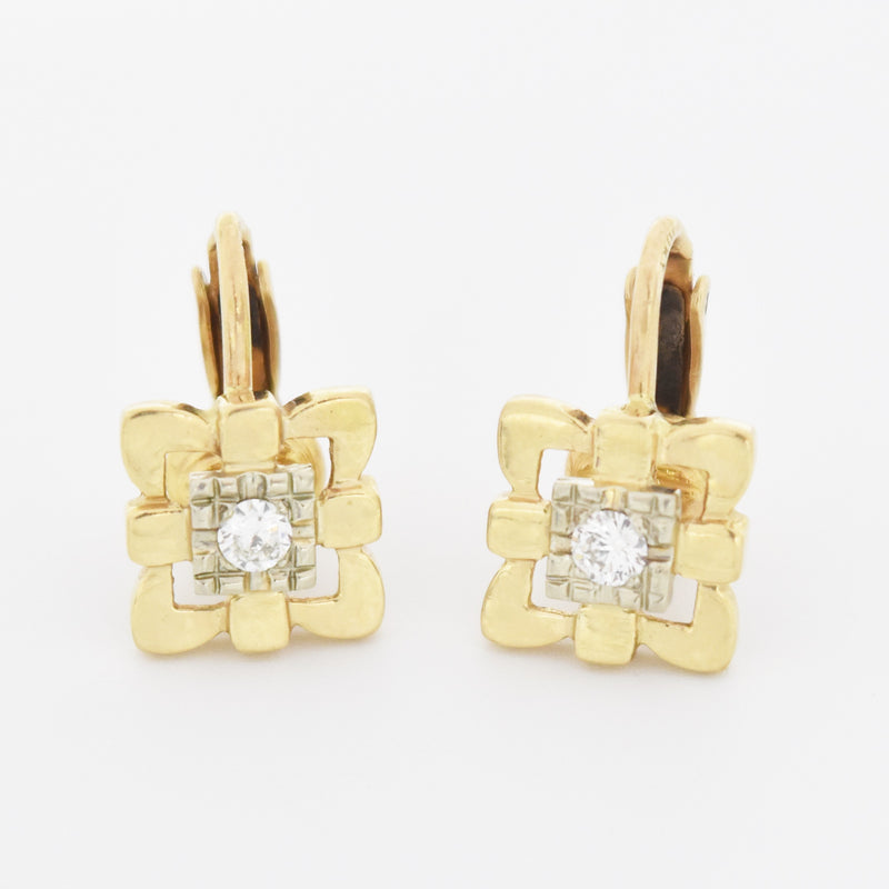 10k Yellow Gold Estate Open Square Diamond Omega Clip Earrings