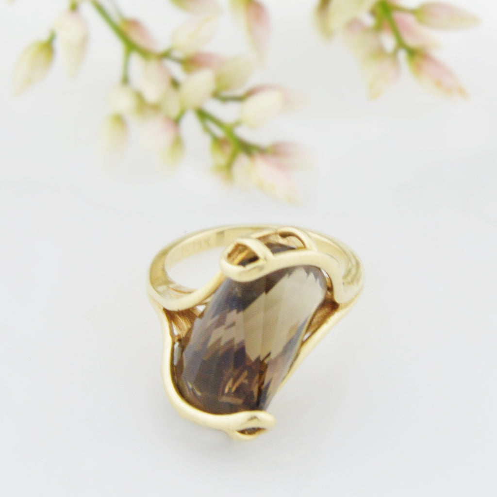 14k Yellow Gold Estate Abstract Citrine Solitaire Ring Size 5.75