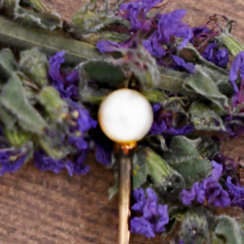 10k Yellow Gold Antique White Pearl Stick Pin
