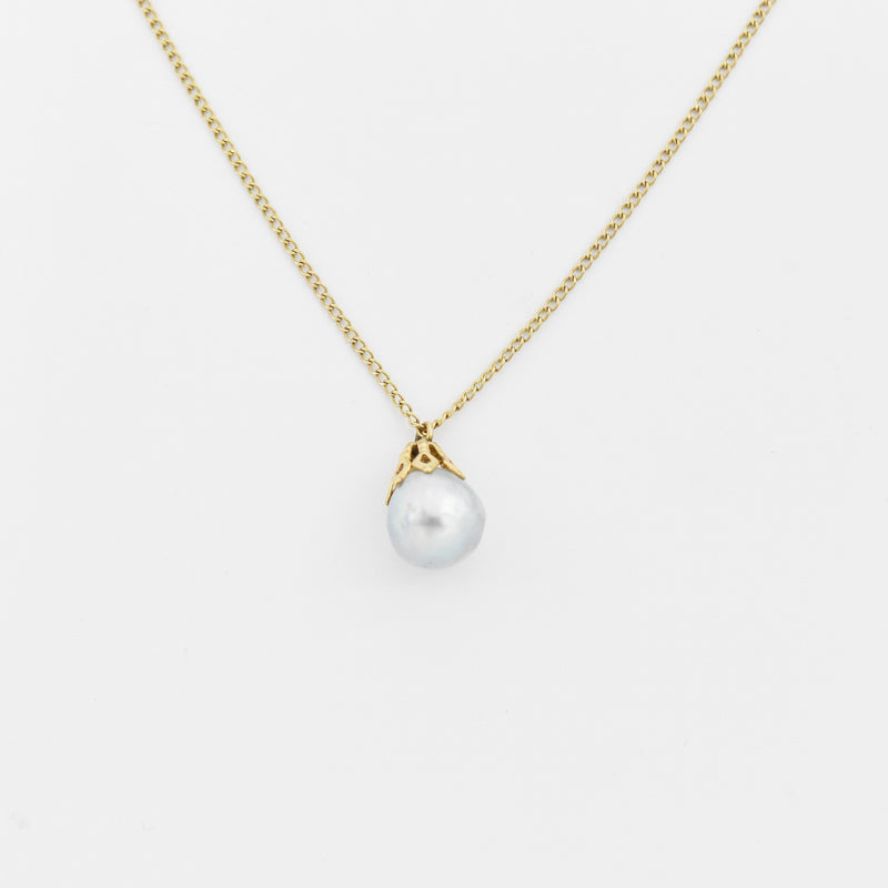 "14k Yellow Gold Estate 15"" Gray Pearl Drop/Dangle Necklace"