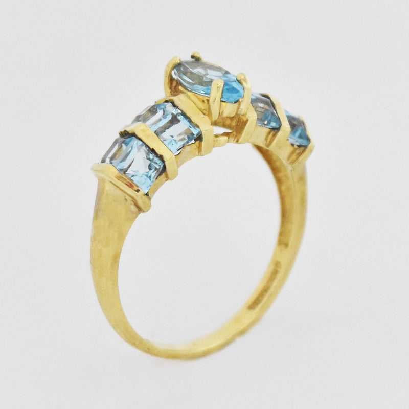 10k Yellow Gold Estate Blue Topaz Pyramid Style Ring Size 7