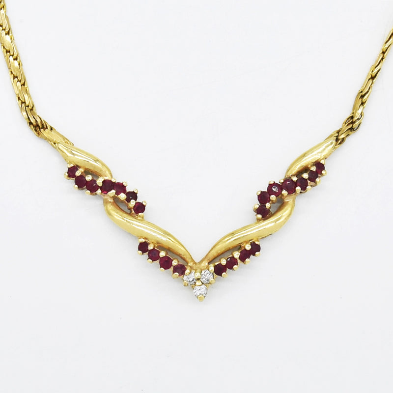 "14k Yellow Gold Estate 16"" Ruby & Diamond Choker Necklace"