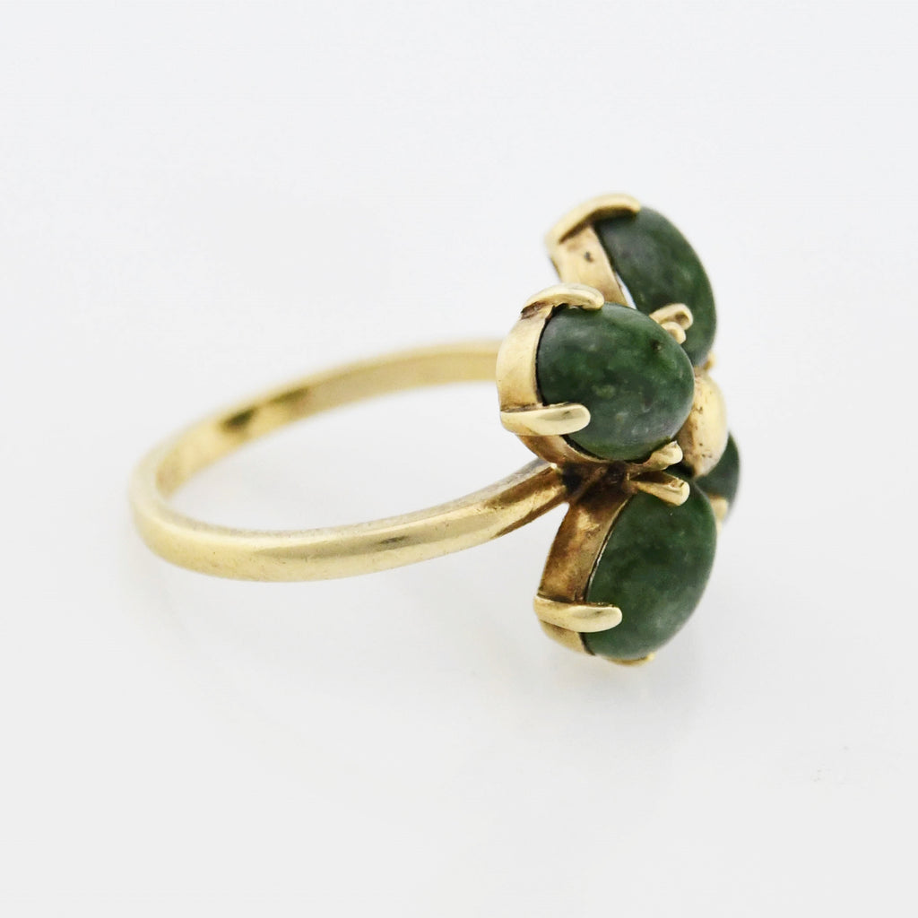 14k Yellow Gold Vintage Green Moss Agate Flower Ring Size 5.75