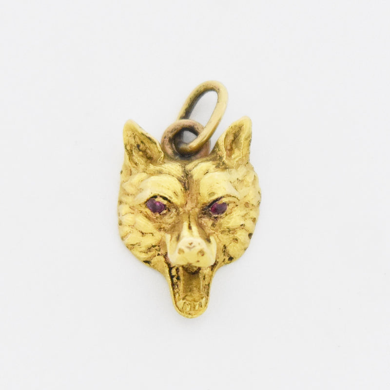 18k Yellow Gold Vintage Ruby Eye Ornate Fox Head Pendant