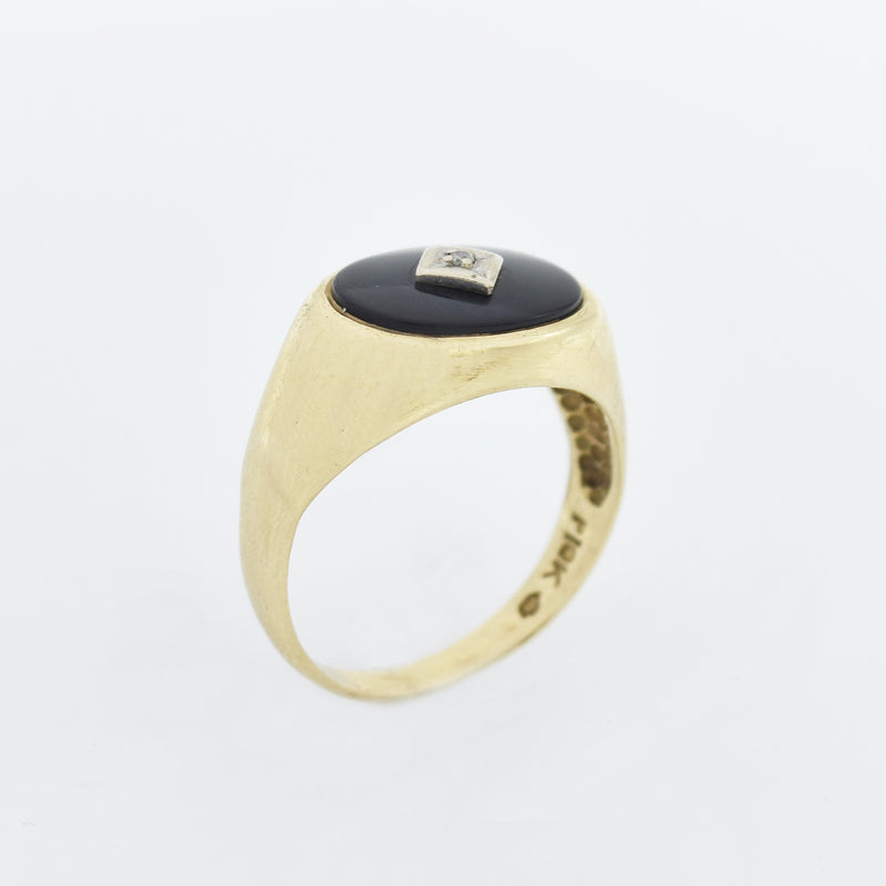 10k Yellow Gold Antique Oval Black Onyx & Diamond Ring Size 10.5