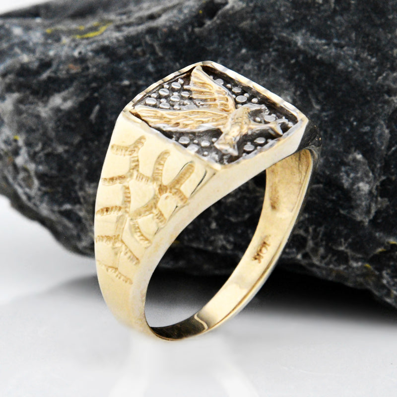 10k Yellow & White Gold Estate Textured Eagle Animal Ring Size 11.75
