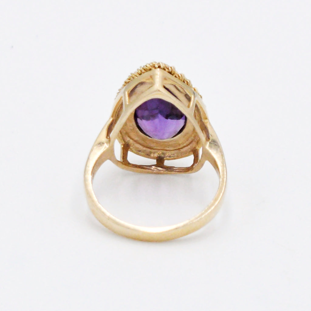14k Yellow Gold Estate Rope Design Teardrop/Pear Amethyst Ring Size 7