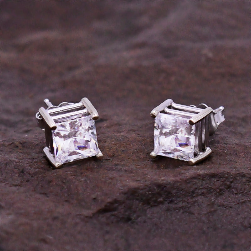 14k White Gold Estate CZ Solitaire Studs/Stud Earrings