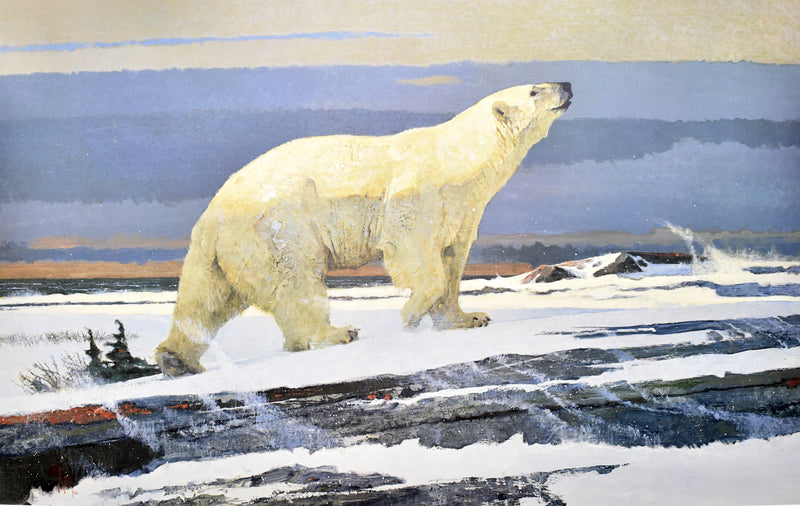 "Bob Kuhn ""A Message On The Wind"" Polar Bear Print 1987"