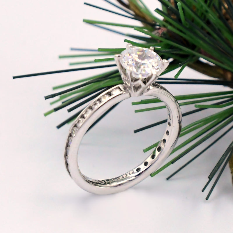 14k White Gold Estate Fancy CZ Engagement Ring Size7