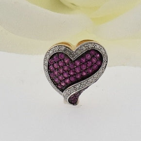 10k White & Yellow Gold Estate Ruby And Diamond .30 tcw Heart Pendant
