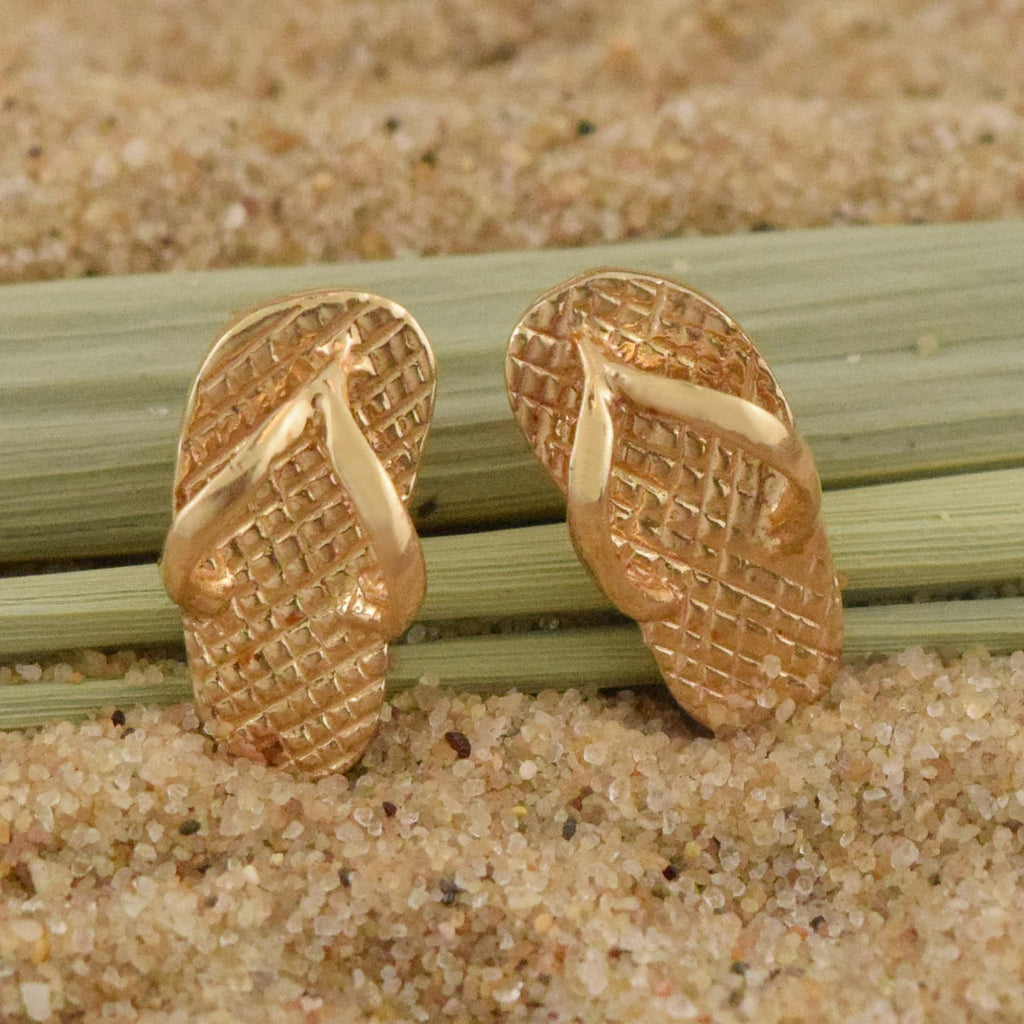 14k Yellow Gold Estate Textured Flip Flop Post Earrings