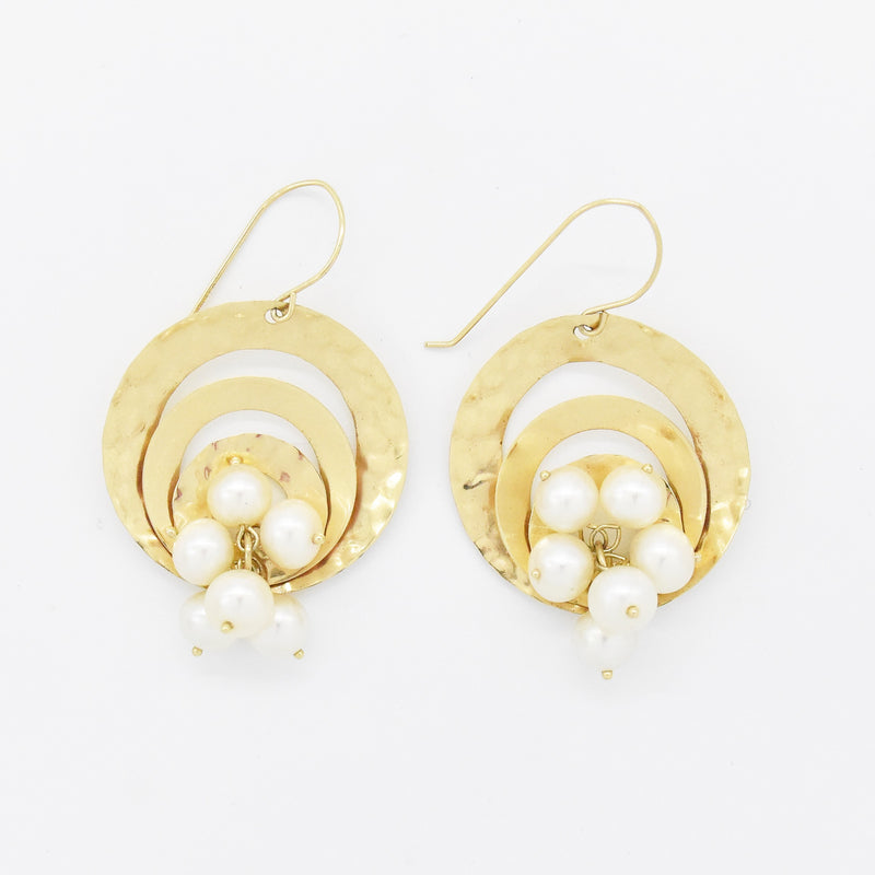 14k Yellow Gold Multi Circle Pearl Cluster Dangle/Drop Earrings