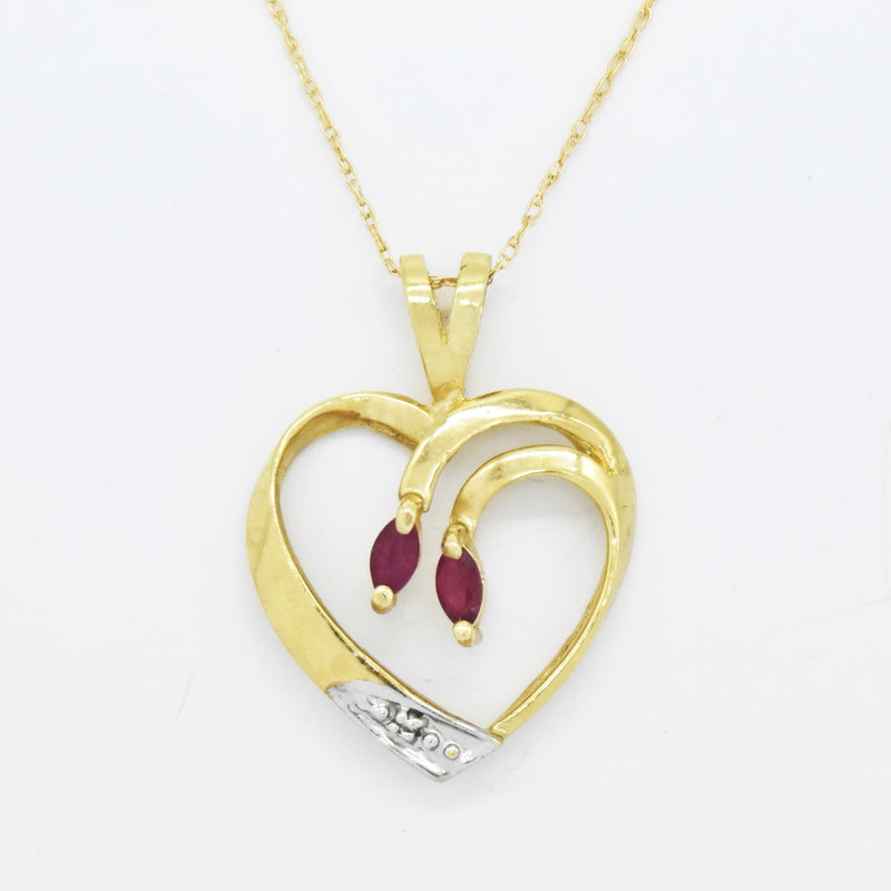 "10k Yellow Gold Estate 19.5"" Open Ruby & Diamond Heart Love Necklace"