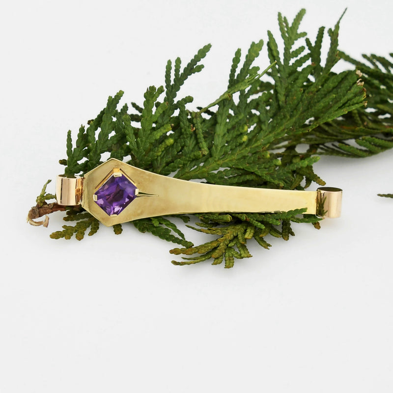 14k Yellow Gold Mid Century Modern Amethyst Pin/Brooch