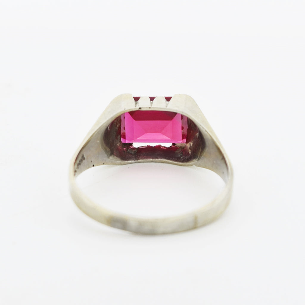 14k White Gold Antique Ruby Gemstone Art Deco Solitaire Ring Sz 11.75