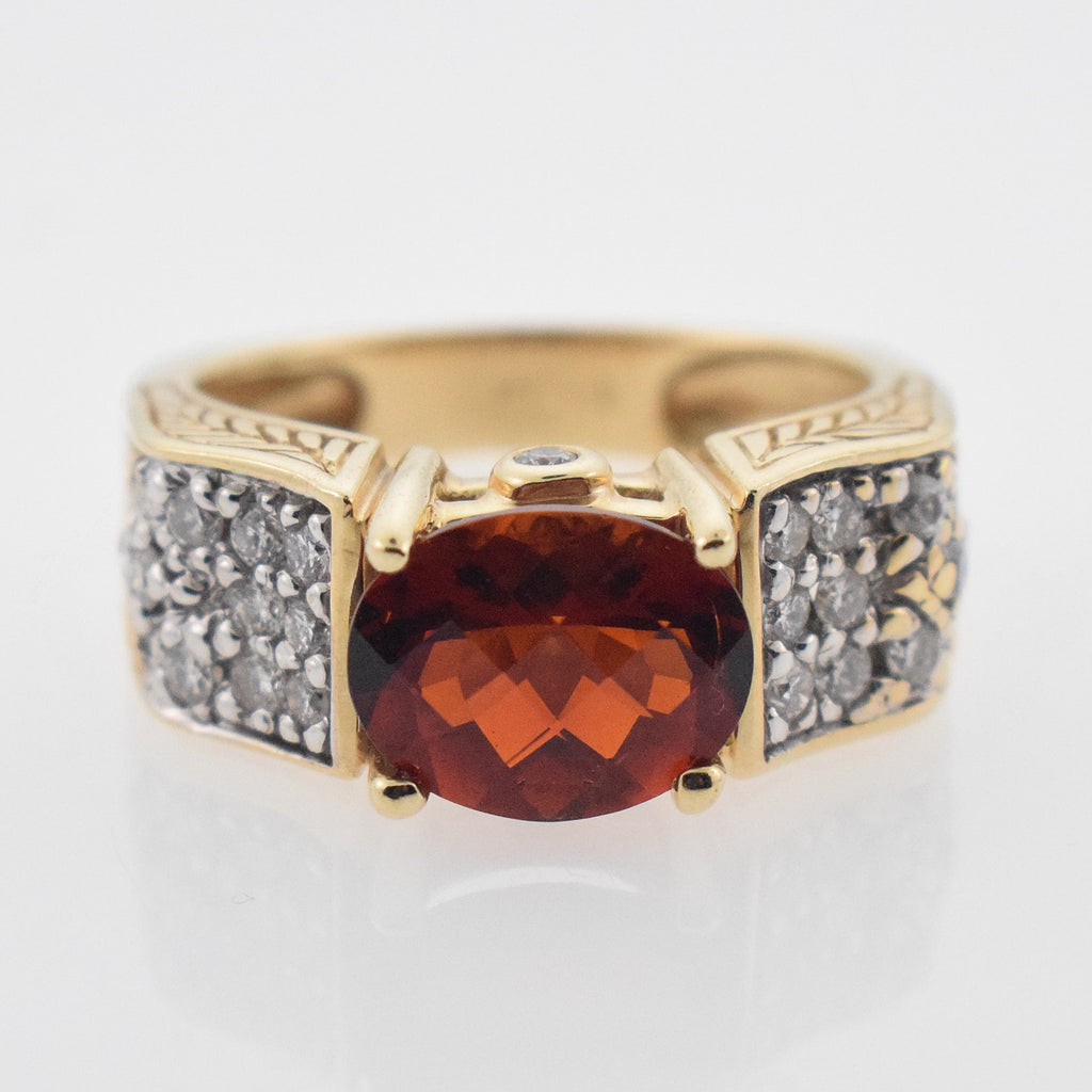 14k YG (NH) Michael Valitutti Red Topaz & Diamond .40 tcw Ring Size 8