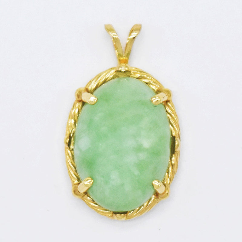 14k Yellow Gold Estate Oval Jade Pendant
