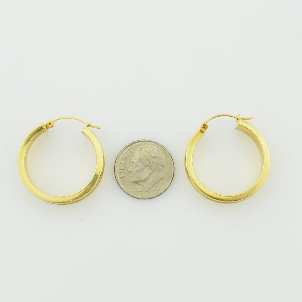 10k Yellow Gold Estate Diamond Cut Textured Hoop Earrings