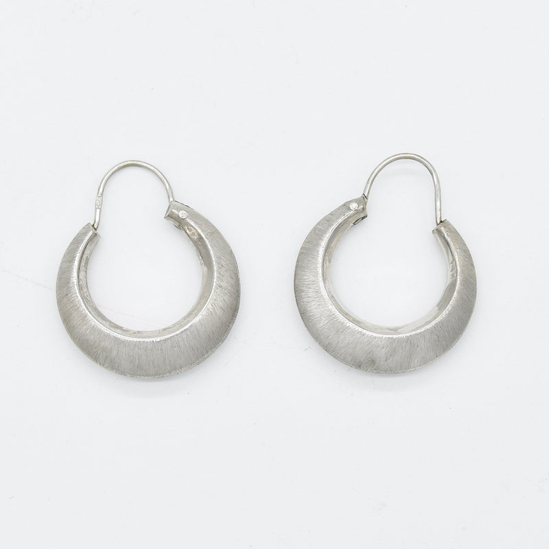 "14k White Gold Estate Textured 1"" Hoop Earrings"