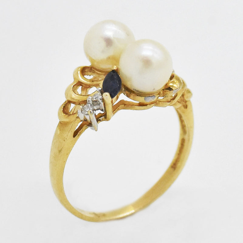 14k Yellow Gold Estate Pearl Sapphire & Diamond Ring Size 6.5