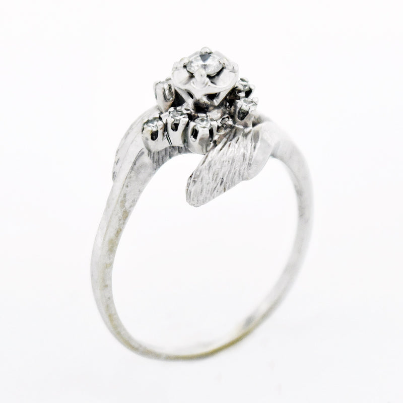 14k White Gold Vintage Swirl Leaf Diamond Engagement Ring Size 9.5