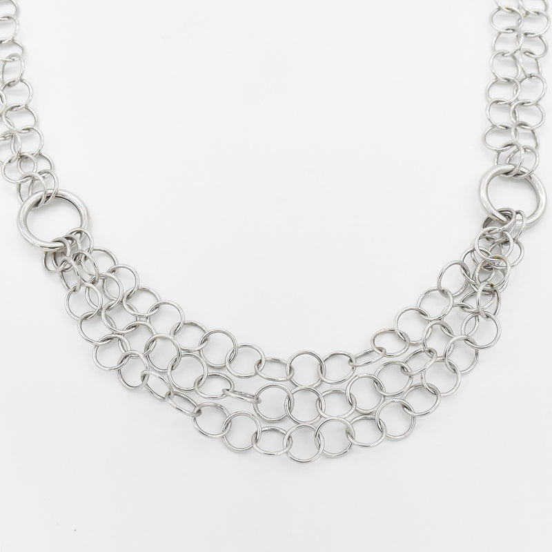"14k White Gold 18"" Double & Triple Rolo Link Choker Necklace"