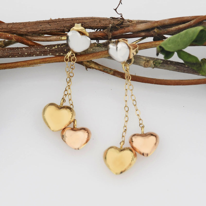 14k Tri Colored Gold Estate Puffy Heart Drop/Dangle Post Earrings