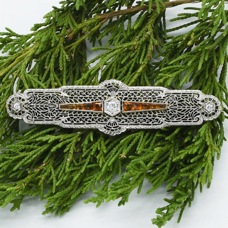 14k White Gold Antique Filigree Diamond & Citrine Bar Pin