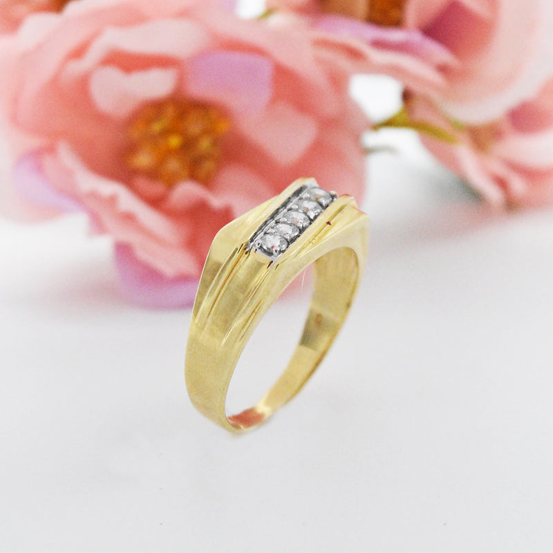 10k Yellow Gold Estate Textured CZ Band/Ring Size 11.5