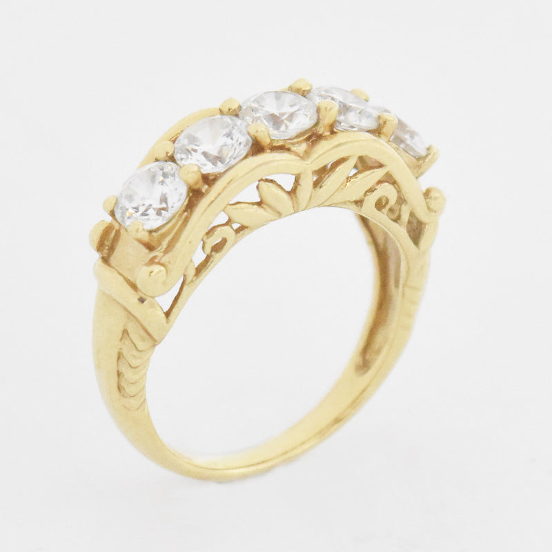 14k Yellow Gold Estate Fancy 5 White Stone Band/Ring Size 6