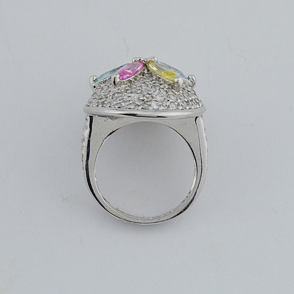 Sterling Silver 925 Multicolored Gemstone Flower Ring Size 7.5