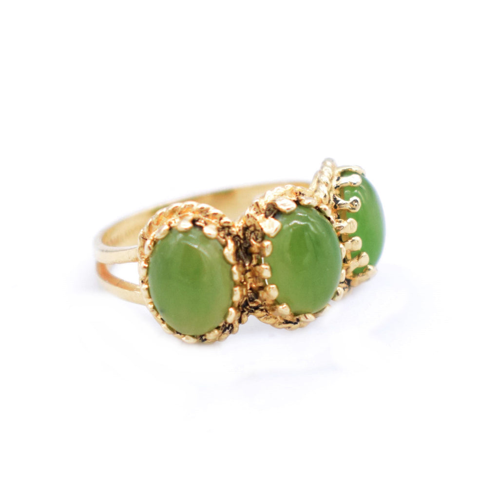 14k Yellow Gold Estate 3 Stone Oval Jade Band/Ring Size 6