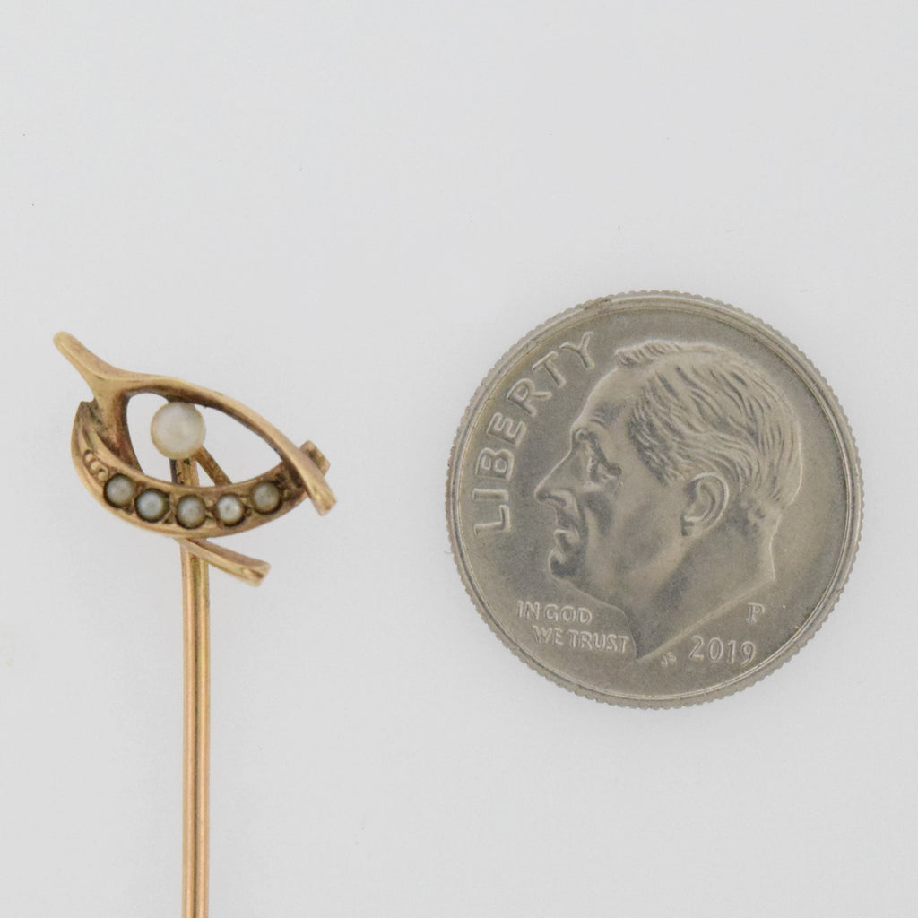 10k Yellow Gold Antique Pearl Wish Bone Stick Pin