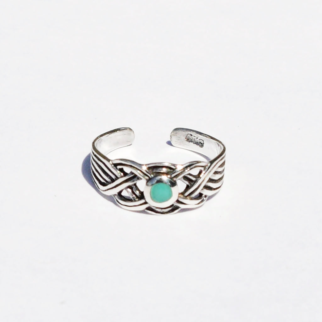 New Sterling Silver 925 Green Enamel Celtic Toe Ring Adjustable