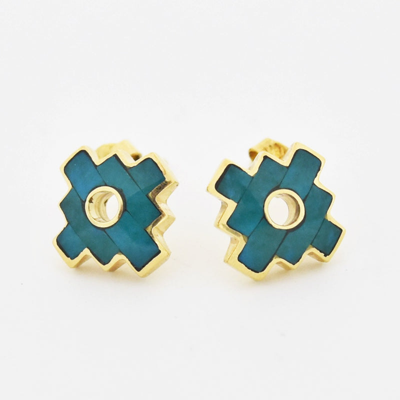 18k Yellow Gold Estate Turquoise Post Earrings