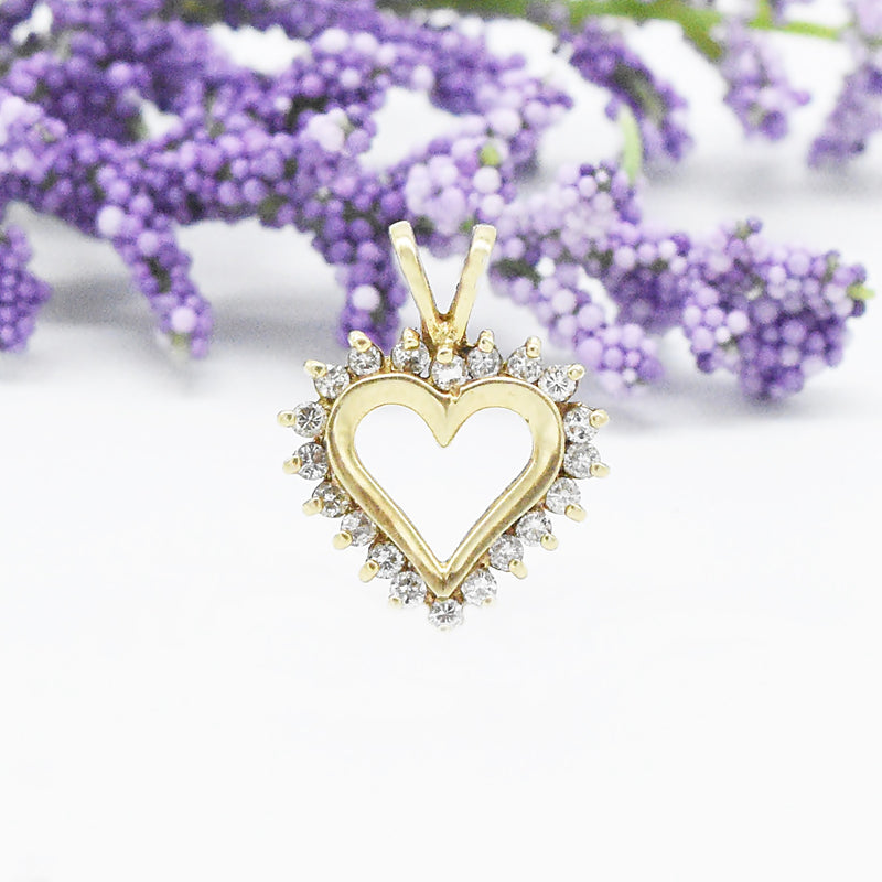 10k Yellow Gold Estate Diamond .40 tcw Open Heart Pendant
