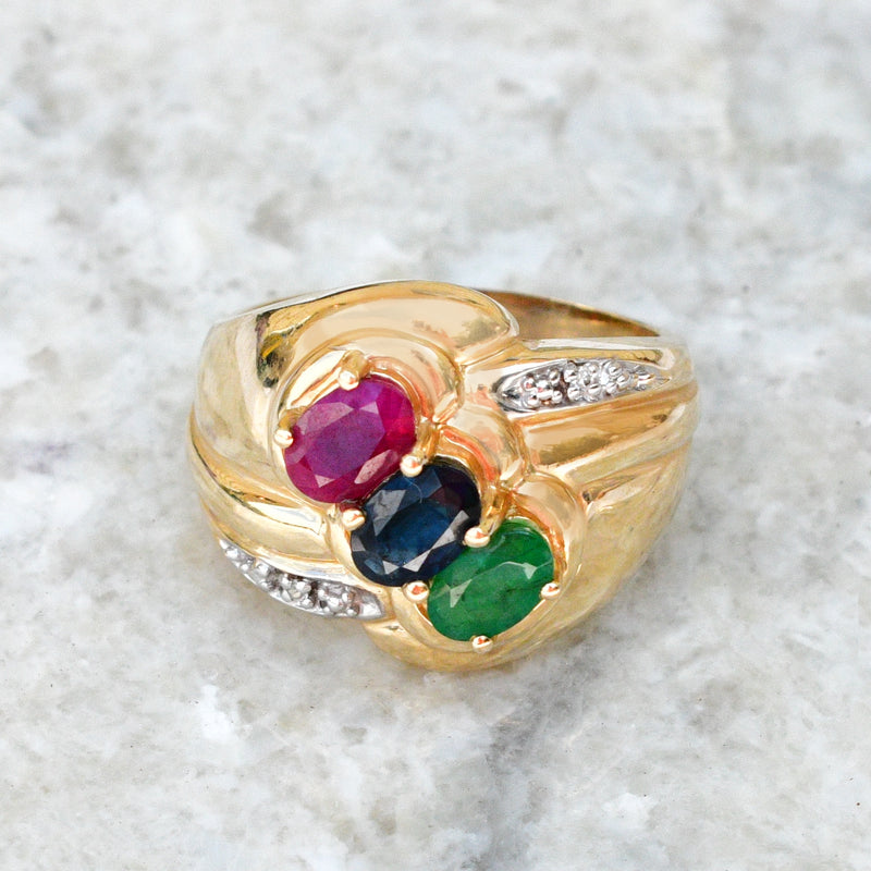 14k Yellow Gold Ruby Sapphire Emerald & Diamond Gemstone Ring Size 7.5