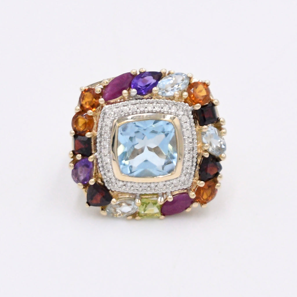 14k Y & W Gold Diamond .36 tcw And Multi Color Gemstone Ring Size 7