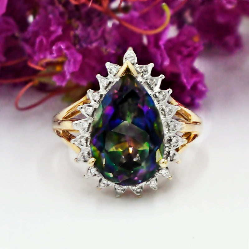14k Yellow & White Gold Estate Mystic Topaz And Diamond Ring Size 8