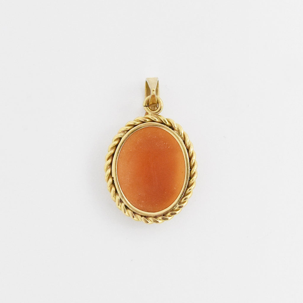 14k Yellow Gold Estate Oval Cameo Pendant