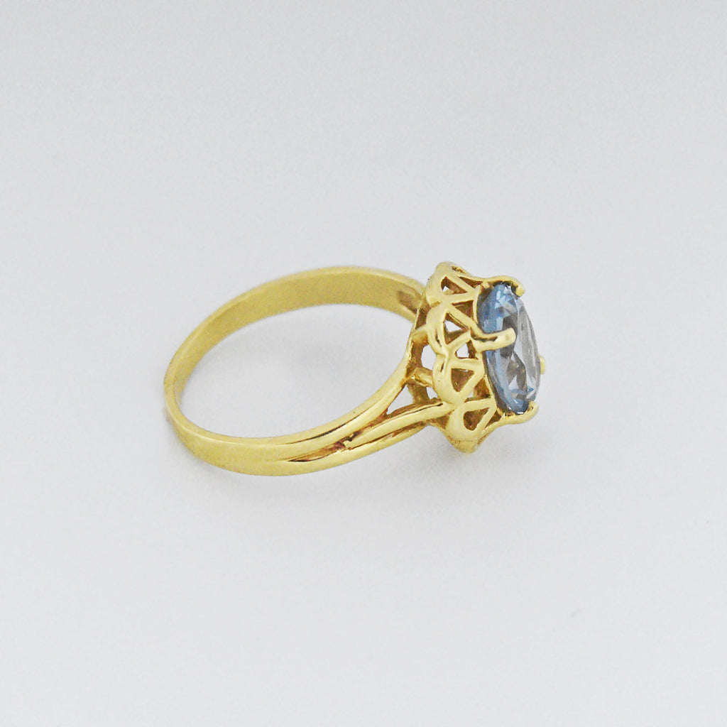 14k Yellow Gold Estate Filigree B & F Oval Blue Topaz Ring Size 6.25