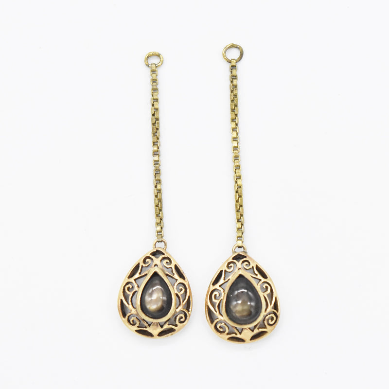 14k Yellow Gold Estate Black Star Sapphire Filigree Drop Enhancers