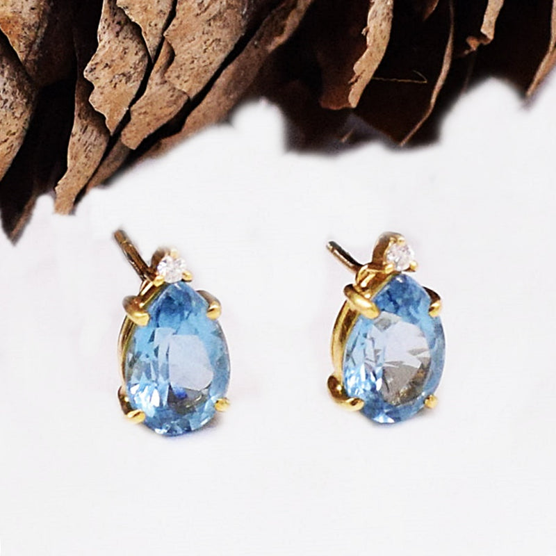 18k YG Blue Topaz Teardrop and White Sapphire Post Earrings